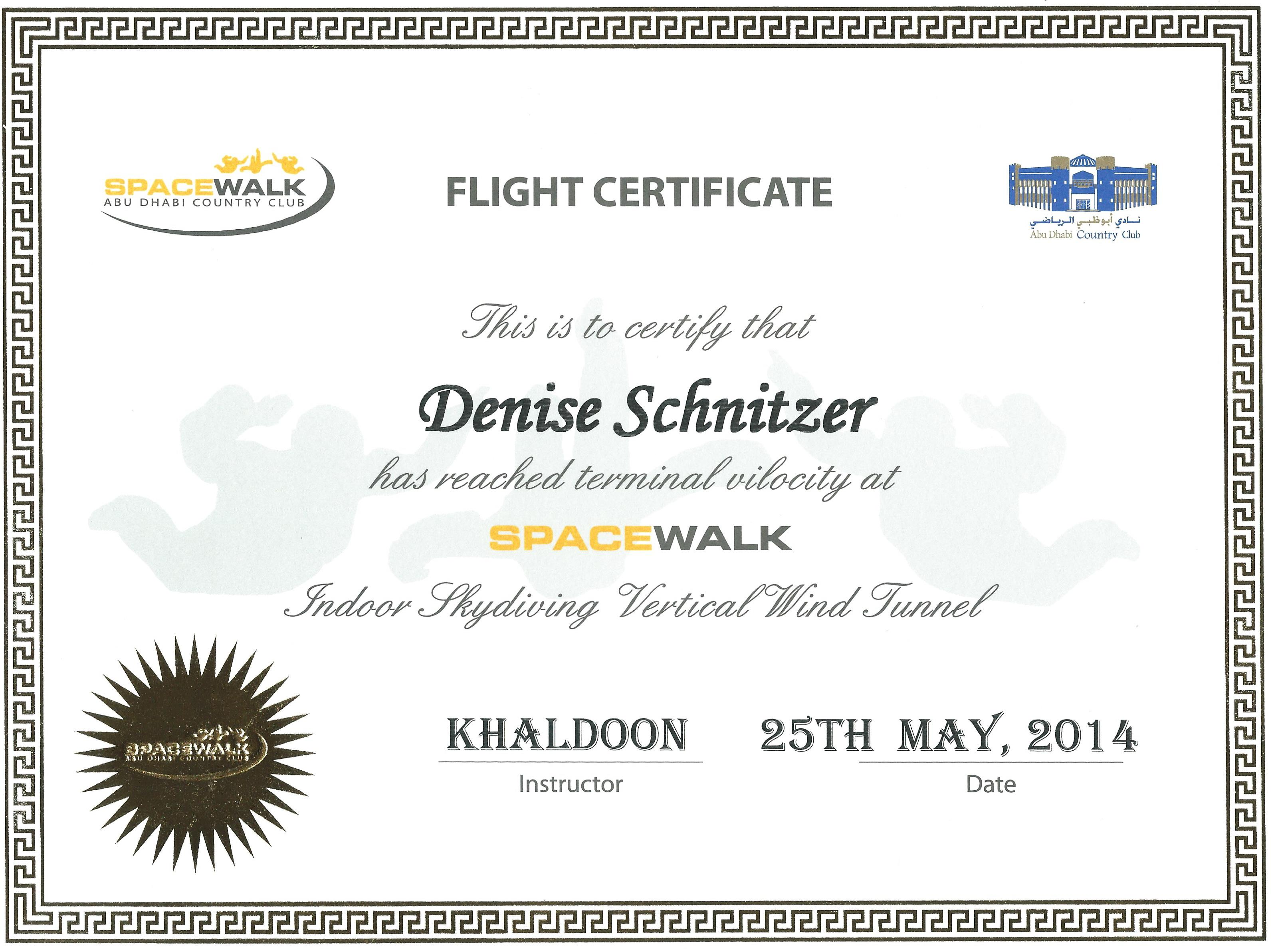 My certificate, suitable for framing.